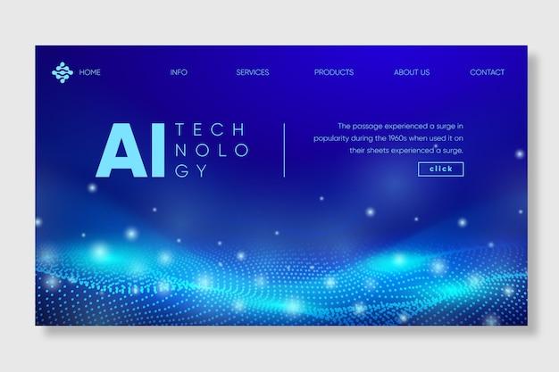 Modelo de página de destino de inteligência artificial Vetor Premium