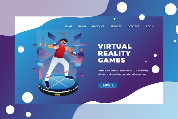 Modelo de página de destino de jogos de realidade virtual Vetor Premium