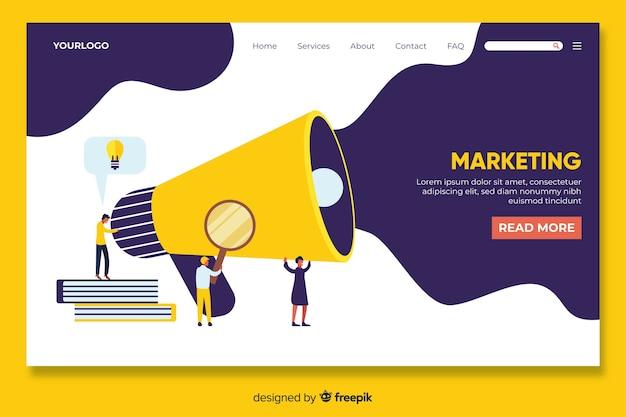 Modelo de página de destino de marketing digital Vetor Premium