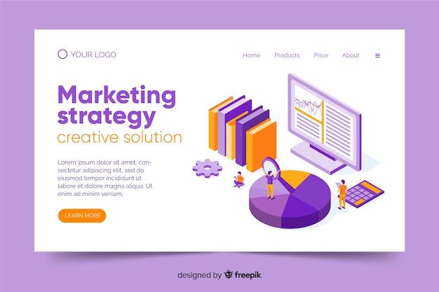 Modelo de página de destino de marketing isométrico Vetor grátis