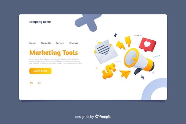 Modelo de página de destino de marketing plano Vetor grátis
