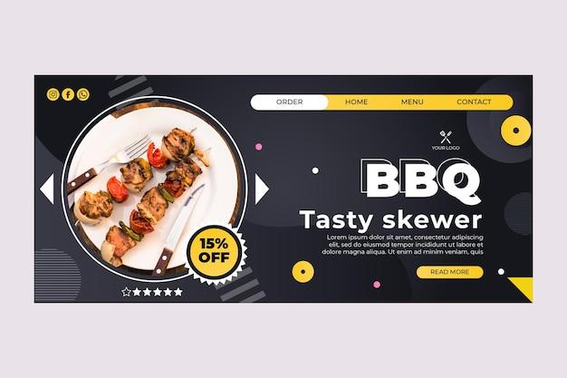 Modelo de página de destino de melhor restaurante de fast food para churrasco Vetor grátis