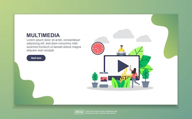 Modelo de página de destino de multimídia. conceito moderno design plano de design de página da web para o site e site móvel Vetor Premium