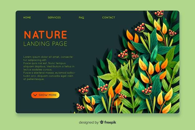 Modelo de página de destino de natureza abstrata Vetor grátis