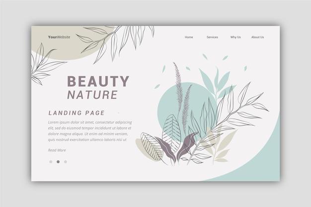 Modelo de página de destino de natureza desenhada de mão Vetor grátis