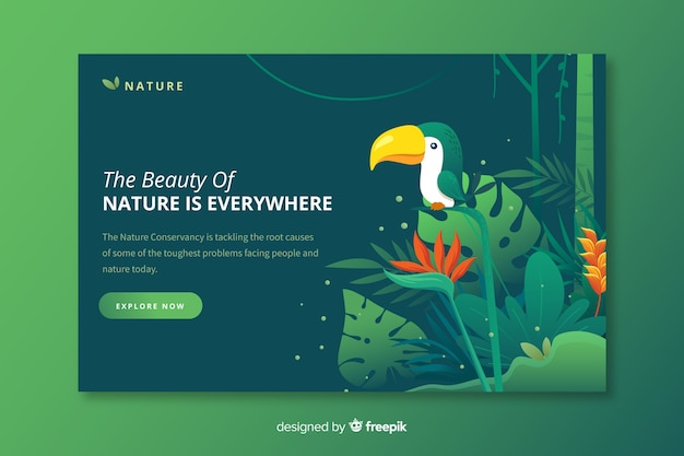 Modelo de página de destino de natureza plana Vetor grátis