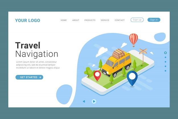 Modelo de página de destino de navegação de viagem Vetor Premium