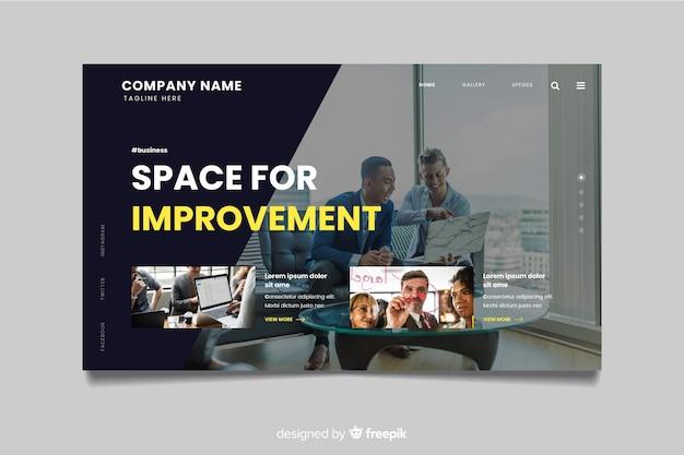 Modelo de página de destino de negócios com foto Vetor grátis