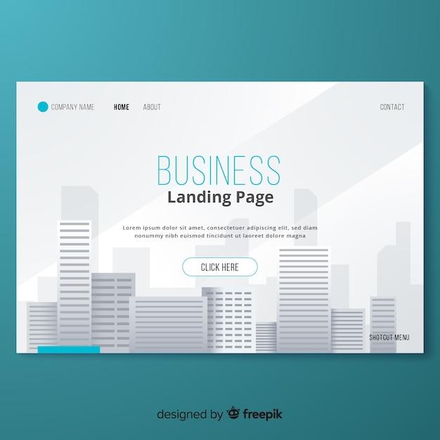 Modelo de página de destino de negócios simples Vetor Premium