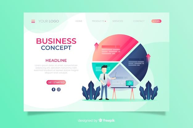 Modelo de página de destino de negócios simples Vetor grátis