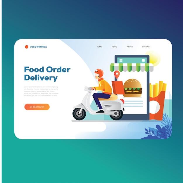Modelo de página de destino de ordem de entrega de alimentos Vetor Premium