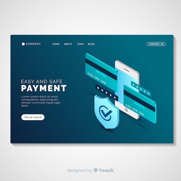 Modelo de página de destino de pagamento on-line Vetor grátis