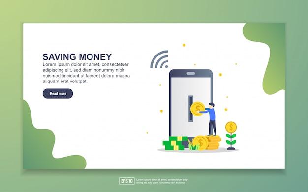 Modelo de página de destino de poupar dinheiro. conceito moderno design plano de design de página da web para o site e site móvel. Vetor Premium