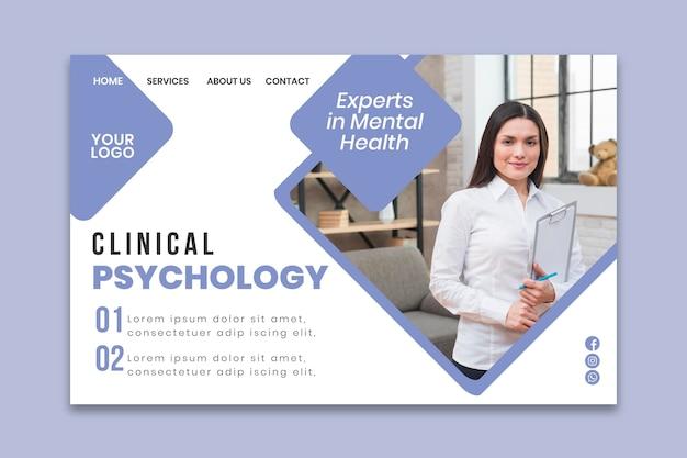 Modelo de página de destino de psicologia clínica Vetor grátis