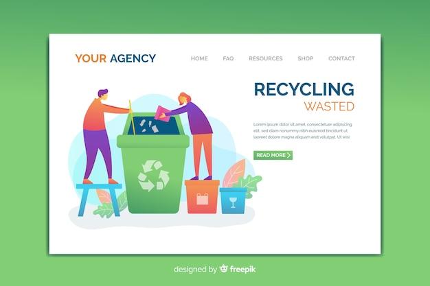 Modelo de página de destino de reciclagem Vetor grátis