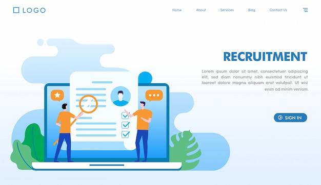 Modelo de página de destino de recrutamento Vetor Premium