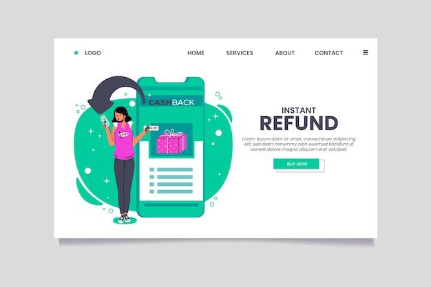 Modelo de página de destino de reembolso instantâneo de cashback Vetor grátis
