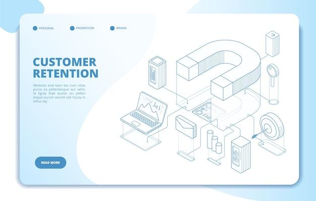 Modelo de página de destino de retenção de cliente Vetor Premium