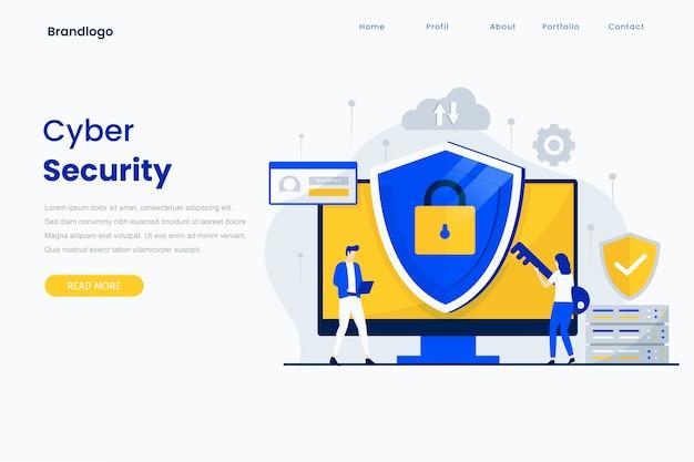 Modelo de página de destino de segurança cibernética. Vetor Premium