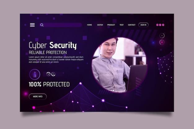 Modelo de página de destino de segurança cibernética Vetor Premium