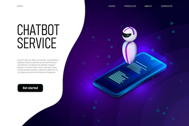 Modelo de página de destino de serviço de chatbot com levitando robô acima do telefone isométrico. Vetor Premium