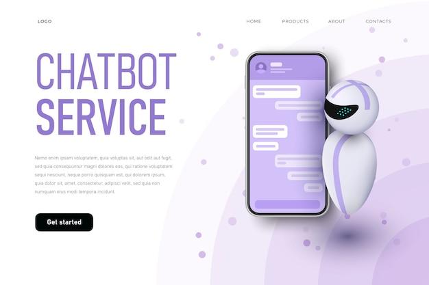 Modelo de página de destino de serviço de chatbot com robô levitando. Vetor Premium
