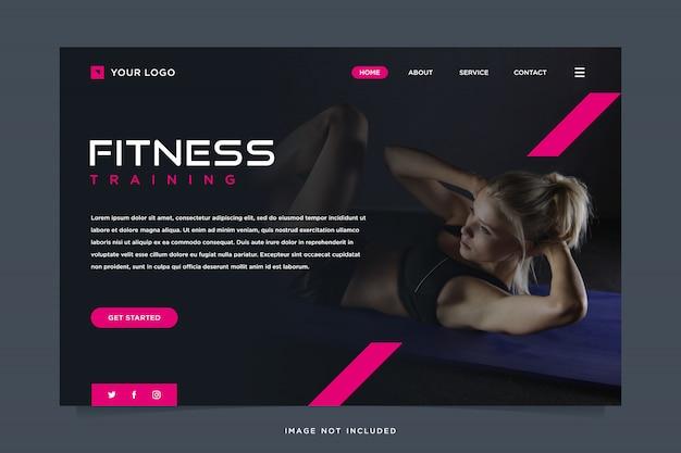 Modelo de página de destino de solução de fitness Vetor Premium