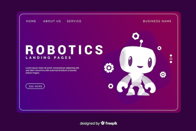 Modelo de página de destino de tecnologia de robótica Vetor grátis