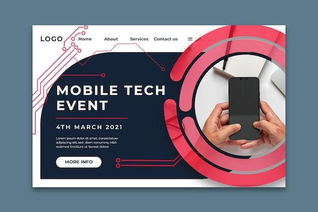Modelo de página de destino de tecnologia móvel Vetor Premium