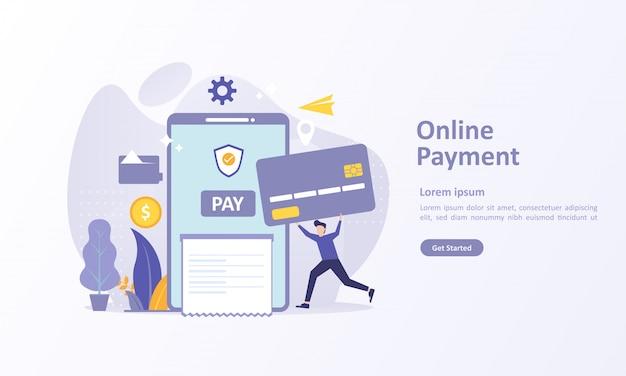 Modelo de página de destino de transferência de dinheiro Vetor Premium