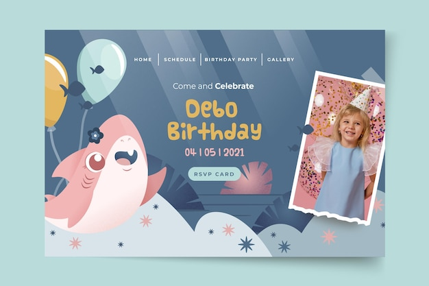 Modelo de página de destino de tubarão aniversário infantil Vetor Premium