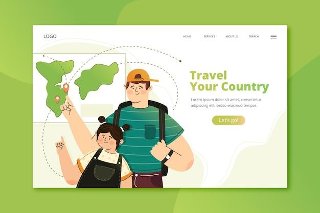 Modelo de página de destino de turismo local com ilustrações Vetor grátis