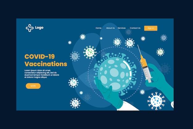 Modelo de página de destino de vacina de coronavírus desenhado à mão plana Vetor grátis