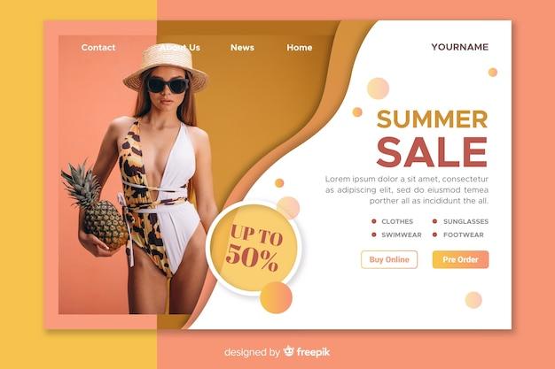 Modelo de página de destino de venda com foto Vetor grátis