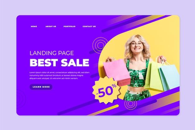 Modelo de página de destino de vendas abstrata com foto Vetor grátis