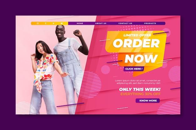 Modelo de página de destino de vendas e compras online Vetor grátis