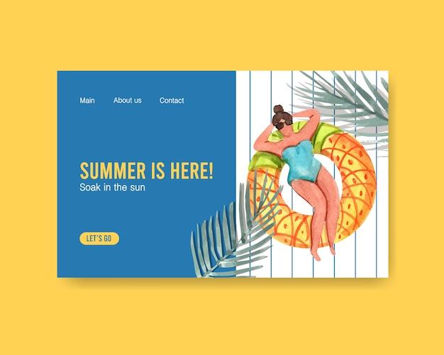 Modelo de página de destino de verão Vetor grátis
