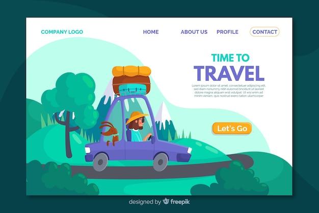 Modelo de página de destino de viagem plana Vetor grátis