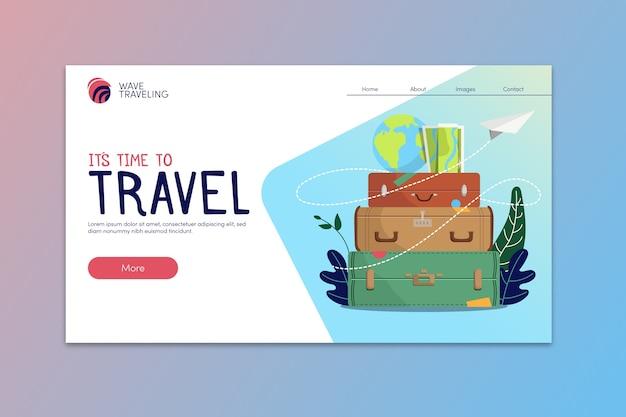 Modelo de página de destino de viagem Vetor grátis