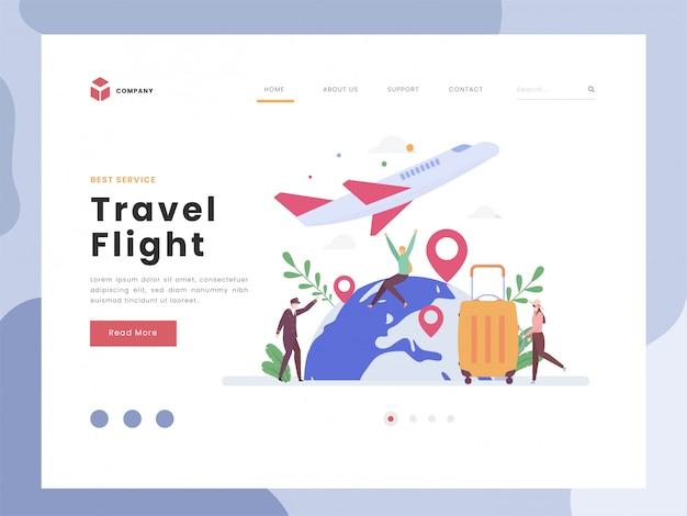 Modelo de página de destino de voo de viagem Vetor Premium