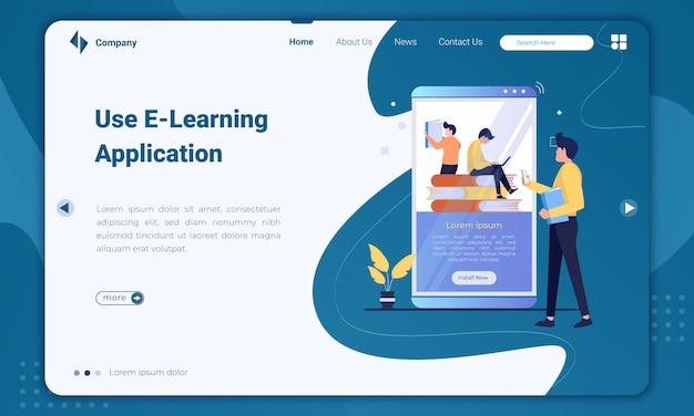 Modelo de página de destino do aplicativo de e-learning de uso plano de design Vetor Premium
