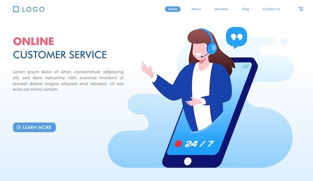 Modelo de página de destino do atendimento ao cliente on-line Vetor Premium
