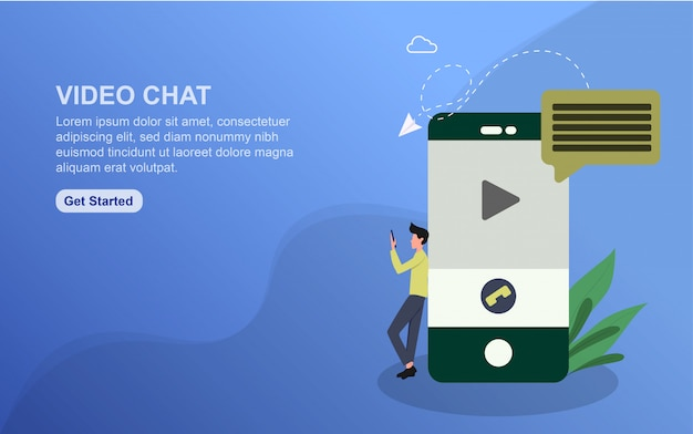 Modelo de página de destino do bate-papo por vídeo Vetor Premium