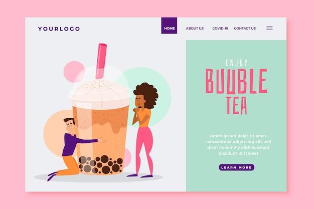 Modelo de página de destino do bubble tea Vetor grátis