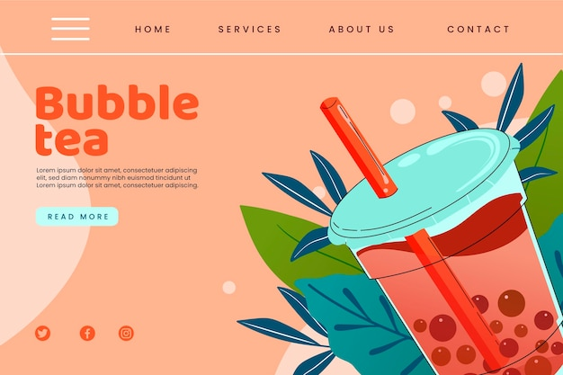 Modelo de página de destino do bubble tea Vetor Premium
