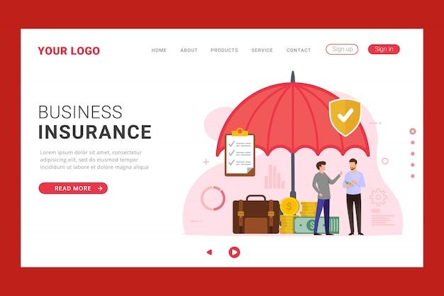 Modelo de página de destino do busines insurance Vetor Premium