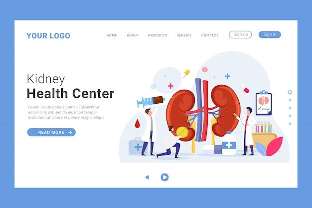 Modelo de página de destino do centro de saúde renal Vetor Premium