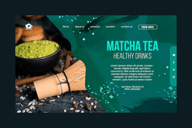 Modelo de página de destino do chá matcha Vetor grátis