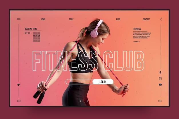 Modelo de página de destino do clube de fitness Vetor grátis