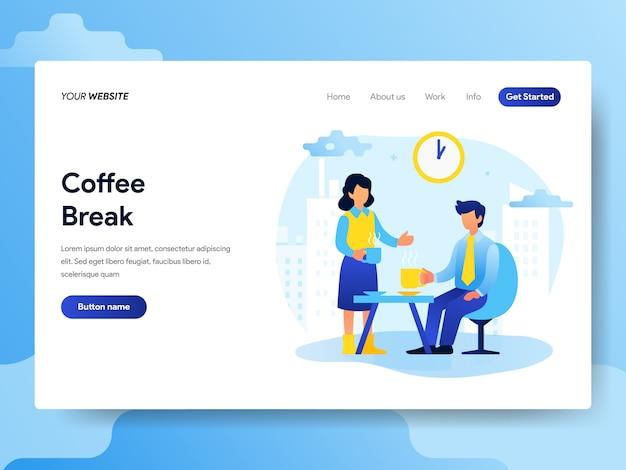Modelo de página de destino do coffee break coffee Vetor Premium